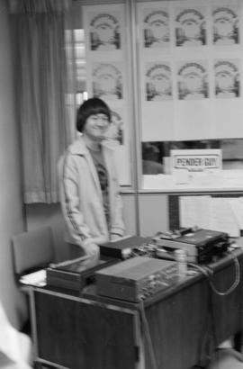 Pender Guy volunteer at an on-air broadcast from Strathcona Community Centre