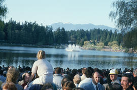Crowd watching Jubilee Fountain during Centennial birthday celebration in Stanley Park