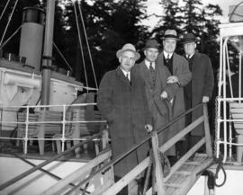 "[Dignitaries board S.S. ""Comox"" for preview run of new service from Whytecliffe Park to..."