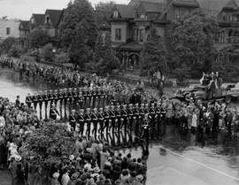 Armed forces marching in Canada Pacific Exhibition's All Out for Victory Parade