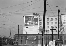 [An Eveready Prestone Antifreeze billboard on the Continental Hotel at 1390 Granville Street]