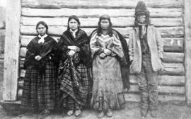 [Jean Baptiste Lolo St. Paul and family in front of a Hudson's Bay Company cabin, Kamloops, B.C.]
