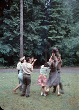 Children playing with ball at Camp Capilano