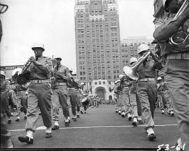 American armed services band in 1953 P.N.E. Opening Day Parade
