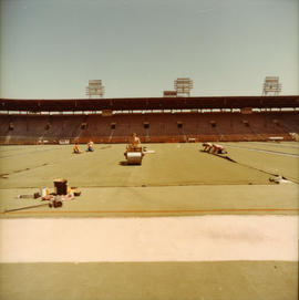 Installation of artificial turf at Empire Stadium