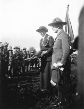 [Lord and Lady Baden-Powell at a Boy Scout rally at Hastings Park]