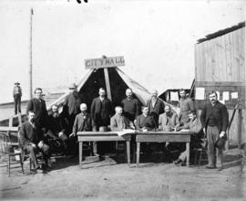 [Mayor, Council and City officials assembled in front of tent]