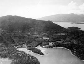[Aerial view of Bowen Island showing Union Steamship Co. Resort Property, Deep Bay and Snug Cove]