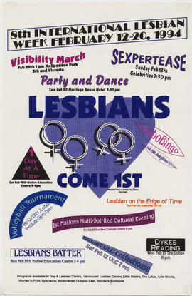 8th international lesbian week : February 12 -20, 1994 [event schedule] : lesbians come 1st