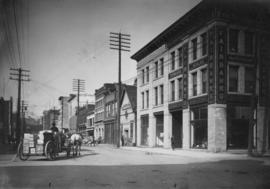 [View of the 100 block Water Street looking west from the corner of Abbott and Water Streets]