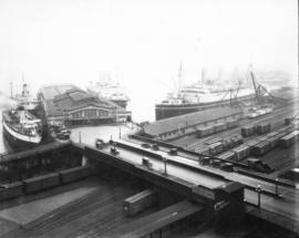 "[View of C.P.R. Pier ""D"" from the roof of the Post Office]"
