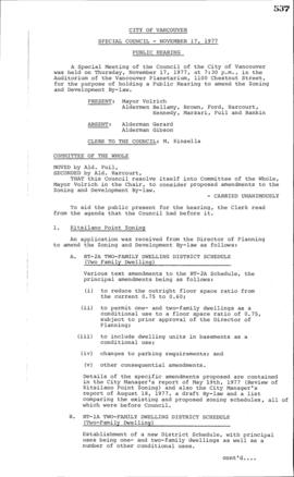 Special Council Meeting Minutes : Nov. 17, 1977