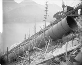 [Partially constructed penstock for Buntzen Lake Power Plant number two]
