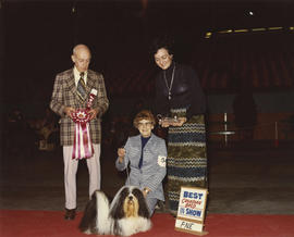 Best Canadian Bred in Show award being presented at 1975 P.N.E. All-Breed Dog Show [Lhasa Apso]