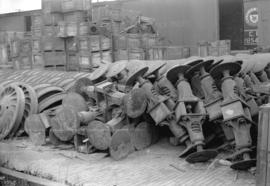 [Russian railway equipment at C.P.R. freight shed, Pender and Abbott Streets]