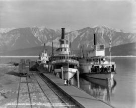"C.P.R. CO's S.S. ""Rossland,"" ""Minto,"" and ""Trail"" at Arrowhead..."