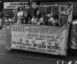 Six Rhythm Larks float in 1953 P.N.E. Opening Day Parade