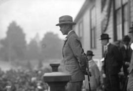 H.R.H. Prince of Wales at New Westminster - speaking from steps