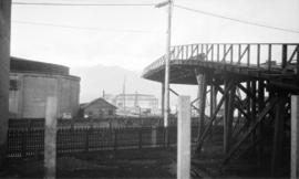 [View of the Canadian National Steamship wharf under construction]