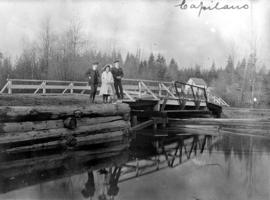 [Children standing on bridge at] Capilano
