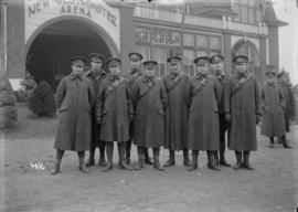 [Group of soldiers in front of New Westminster Arena]