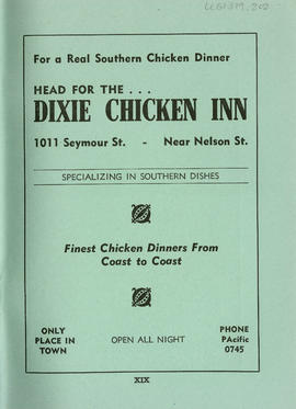 Sectional map and street directory of Vancouver, British Columbia : Dixie Chicken Inn advertisement