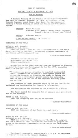 Special Council Meeting Minutes : Nov. 18, 1975
