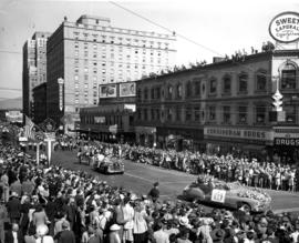 Decorated cars in 1949 P.N.E. Opening Day Parade