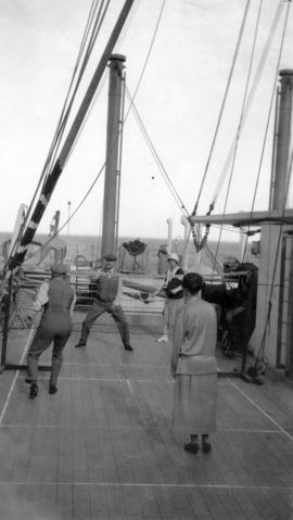 "[Douglas Haig, 1st Earl Haig (Field Marshal) and others playing a net game on board the ""Sit..."