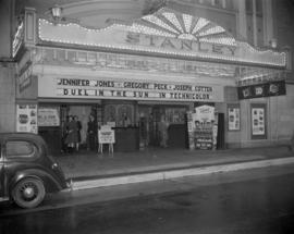 [Exterior of the Stanley Theatre showing a close up view of the marquee with advertising for &quo...