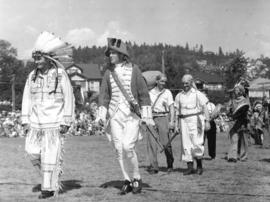 [Actors in costume for the Narvaez Pageant at Ambleside Park]