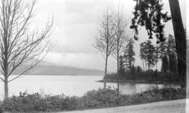 [View from Brockton Point looking northeast, showing Lightkeeper's cottage, Burrard Inlet, M...