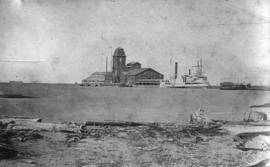 [View of the first grain elevator on the Great Lakes]