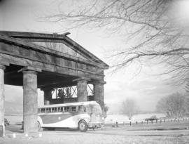 New Pacific Stage bus [under Lumberman's Arch]