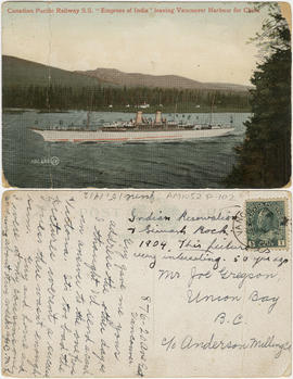 "Canadian Pacific Railway S.S. ""Empress of India"" leaving Vancouver harbour for China"