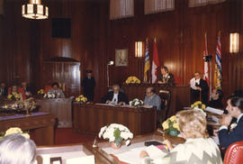 View of City Council Chambers with Mayor Phillips seated in office