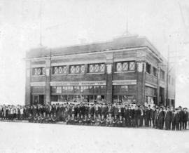[Group in front of the Stettler Cigar Factory, Vancouver Branch, Factory No. 10 at 418 West Georg...