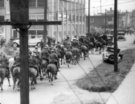 [Mounted R.C.M.P. on Dunlevy Avenue during the Powell Street Riot]