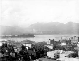 [Looking northwest from Granville Street near Georgia Street towards the north shore]