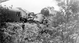 [View of the wreckage after a head-on collision between a Great Northern Railway train and a Cana...