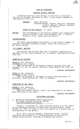 Council Meeting Minutes : Nov. 6, 1973
