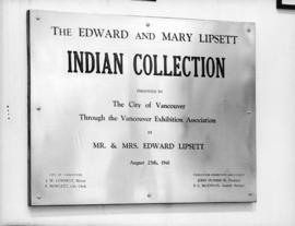 [Plaque] at the Vancouver Exhibition [regarding the donation to the City of Vancouver of] Lipsett...