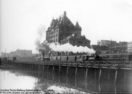 [View of the second C.P.R. station at the foot of Granville Street from the water]
