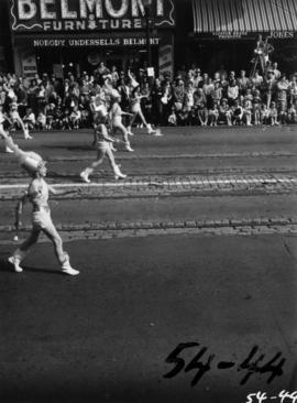Majorettes marching in 1954 P.N.E. Opening Day Parade