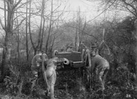 Vancouver Volunteer Regiment Artillery [hauling gun through forest]