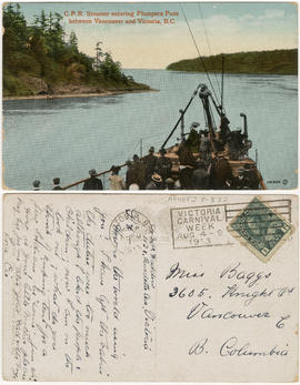 C.P.R. steamer entering Plumpers Pass between Vancouver and Victoria, B.C.