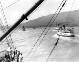 "[Steamer ""Capilano"" (II) with other Union vessels outward bound from Vancouver, B.C.]"