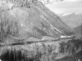 Snow sheds on mountainside, Rogers' Pass, B.C.