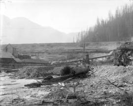 [Partially constructed Coquitlam Dam, showing downstream slope of dam]