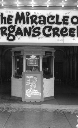 "[Orpheum box office display for the ""Miracle of Morgan's Creek""]"